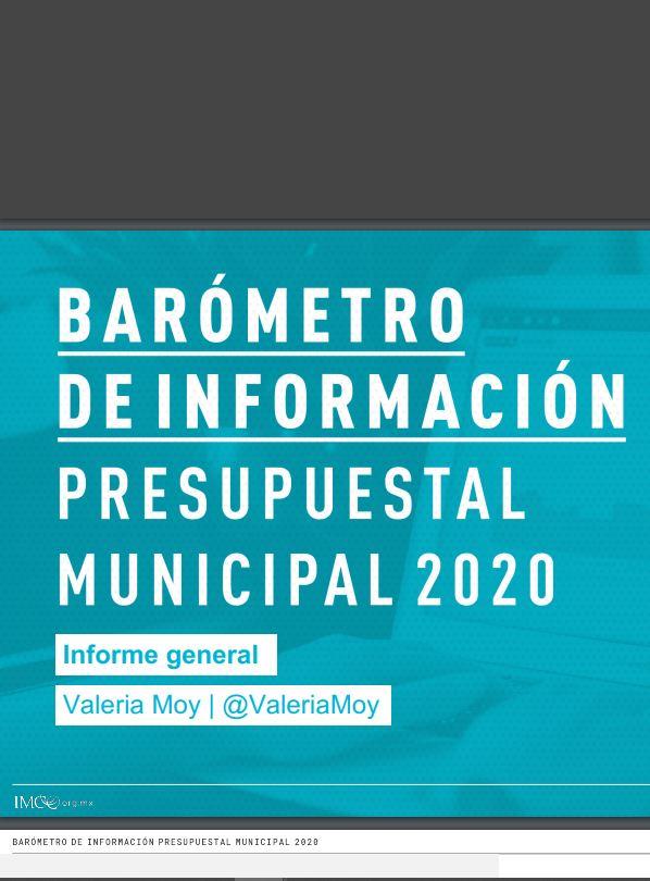 barometro de informacion presupuestal municipal 2020